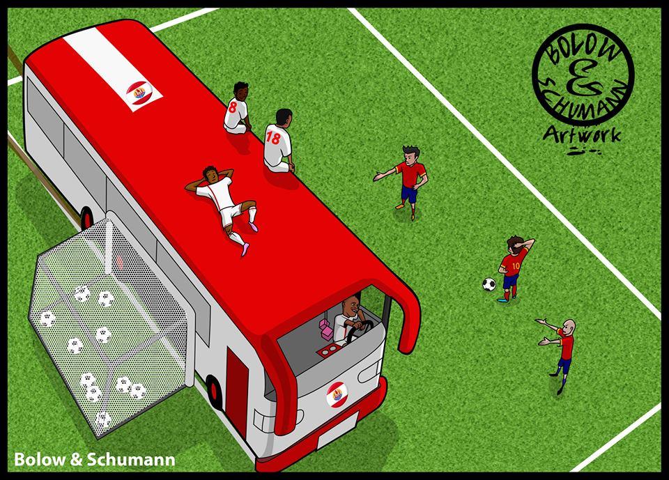 Haiti phải mang xe bus ra đựng bóng