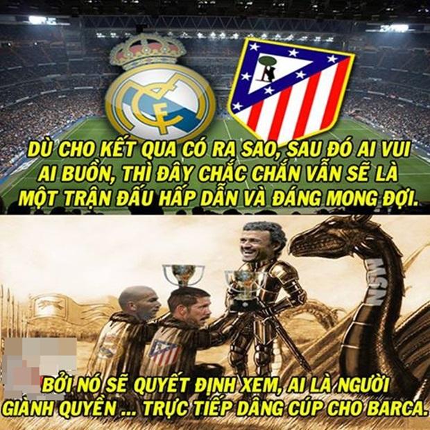 """Ảnh chế: Thành Madrid """"huyết chiến""""... chọn người hầu cho Barca; Vì chai C2 huynh đệ quyết tương tàn"""