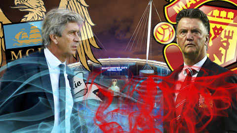 Derby Manchester: Cuộc chiến cân não giữa Pellegrini và Van Gaal
