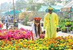 Chùm ảnh: Tiền đạo Diabate và bà xã tươi tắn đi chợ hoa Tết